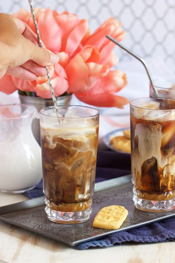 Super easy Starbucks Inspired Iced Coconut Caramel Macchiato recipe is refreshing and cool. TheSuburbanSoapbox.com