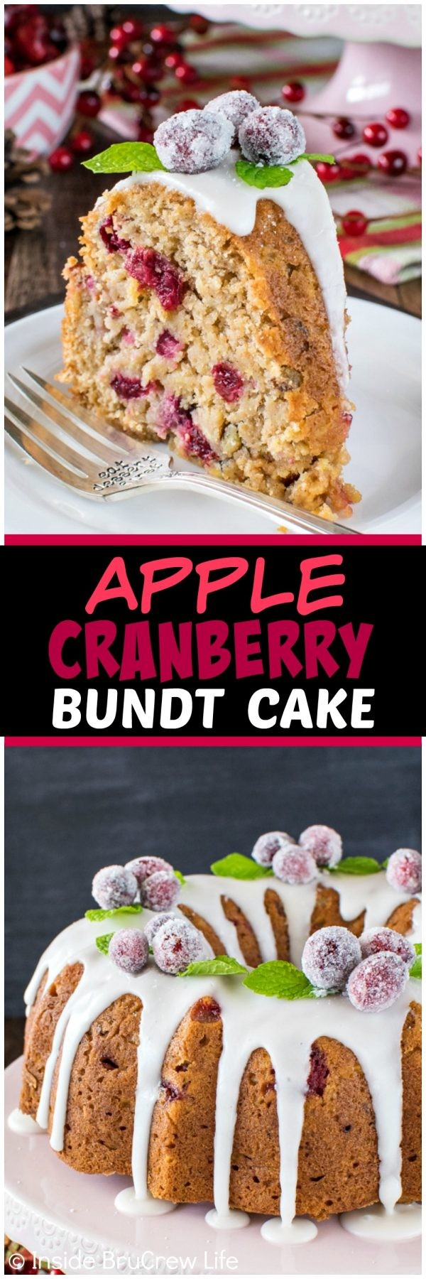 Apple Cranberry Bundt Cake - a sweet glaze and fresh apples & berries make this a fun and festive cake. Great recipe for holiday parties!