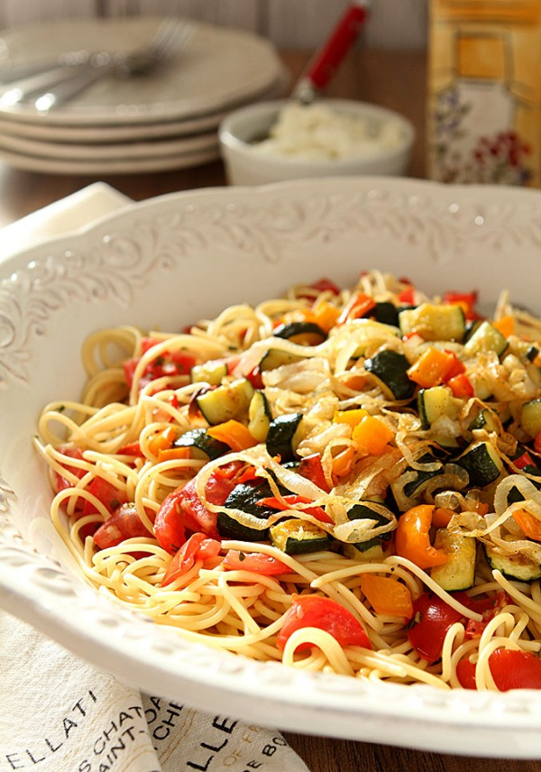 Roasted Vegetable Pasta with Goat Cheese by Barb Kiebel ...