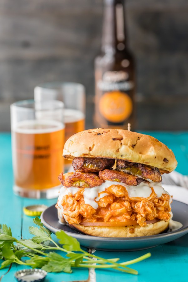 Slow Cooker Buffalo Chicken Sandwiches with Ranch Fried Pickles. THE ...
