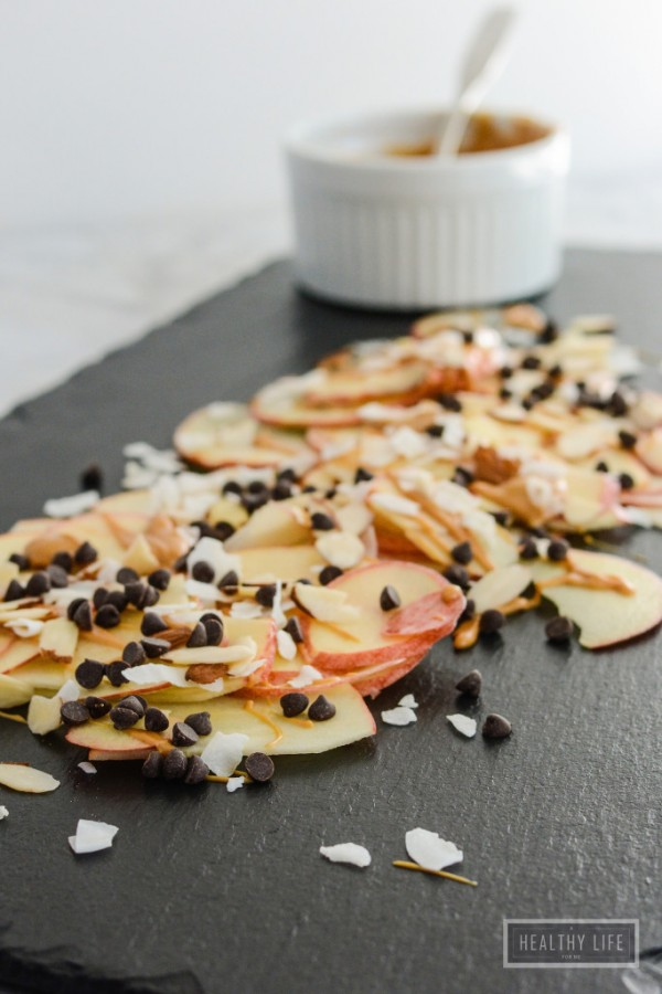 Apple Nachos a healthy fall snack that is paleo, gluten free, dairy free recipe | ahealthylifeforme.com
