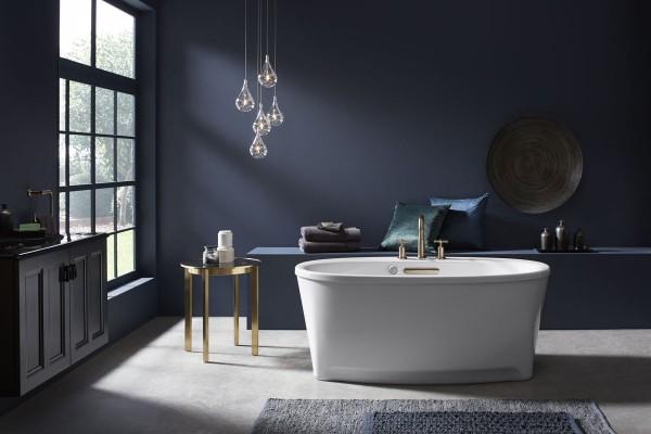 Underscore freestanding bath    Purist bath faucet trim    The refined lines and elegant functionality of the Underscore® freestanding bath blend comfort with unique design.