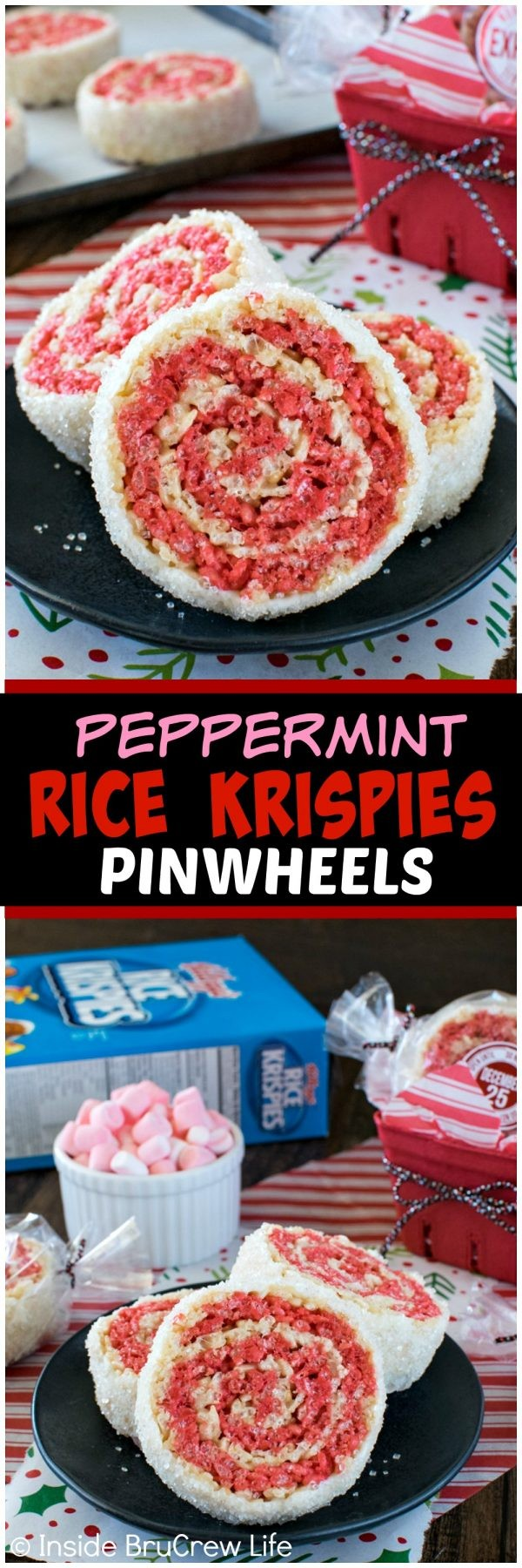 Peppermint Rice Krispies Pinwheels - these easy no bake treats have swirls of red and white and have a white chocolate sugar coating. Great recipe for holiday parties! This was created in partnership with Rice Krispies. #ad