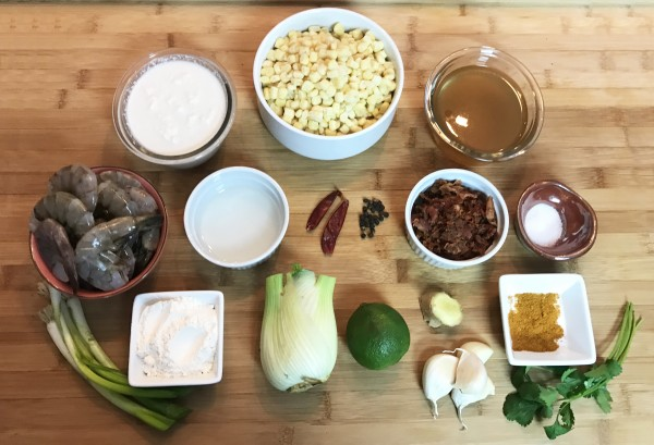 Manchowder by the Sea - Shrimp & Corn Coconut Chowder with Bacon!