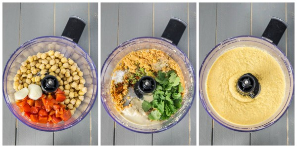 Fajita Flavored Hummus- in the making
