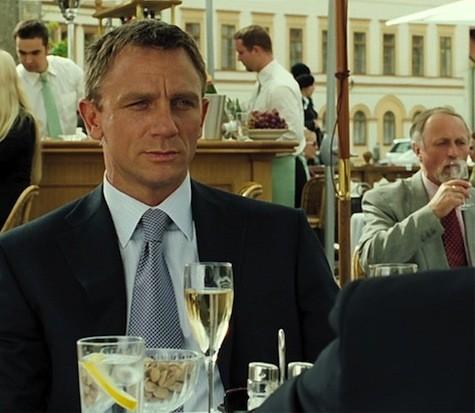 James Bond drinking Champagne