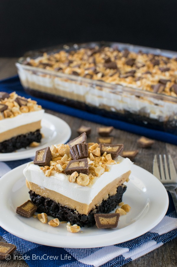Peanut Butter Brownie Dessert - pudding and peanut butter layers make this brownie disappear in a hurry! Great dessert recipe!