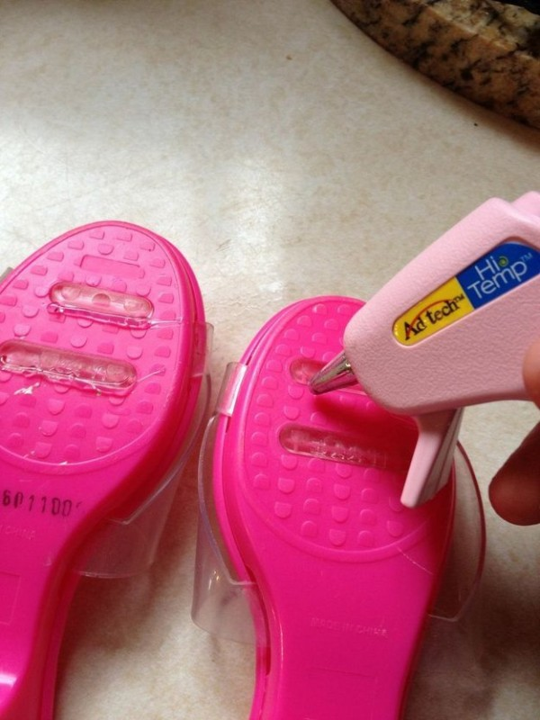 Use a glue gun to prevent shoes from slipping.