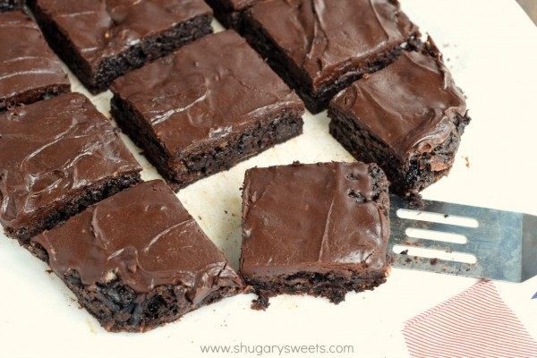 Rich and decadent Chocolate Zucchini Brownies topped with an incredible chocolate fudge frosting!
