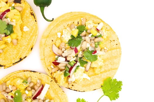 Cheddar Scramble with White Bean, Radish, + Mango Tacos | LocalSavour.com