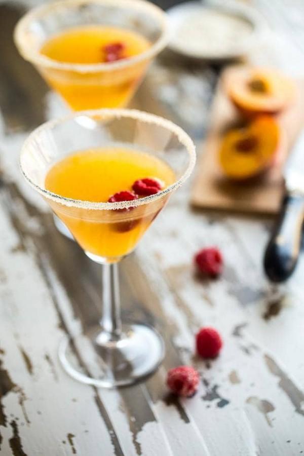 Peach Martini with Raspberry | Food Faith Fitness