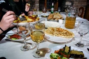 A feast with Georgian wine, photo by Hannah Walhout