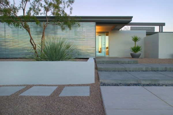 modern exterior landscape stone path