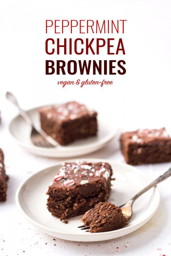 Peppermint Chickpea Brownies -- with banana, quinoa, coconut sugar and a coconut butter icing!