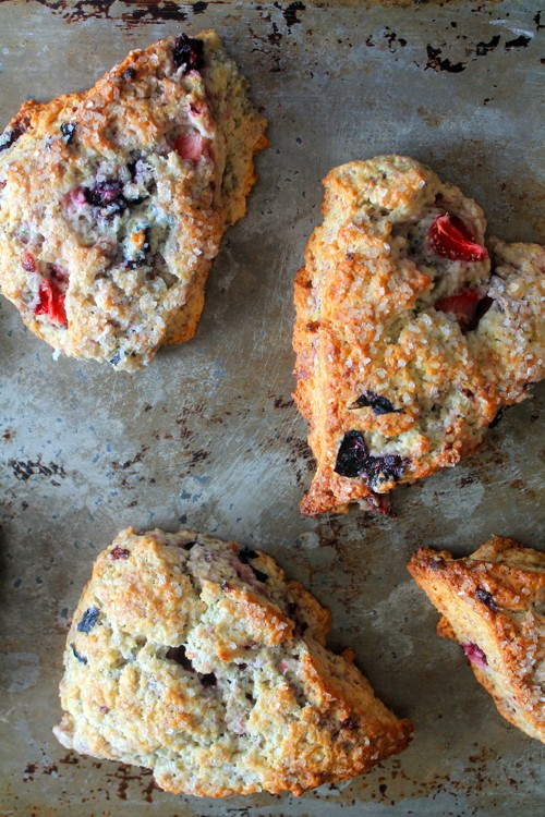 Mixed Berry Mascarpone Scones make a sweet and satisfying breakfast or snack. Mascarpone makes them delectable.