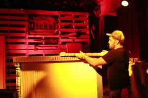 Jimmy DiResta building the bar at the George Dickel Whiskey event at House of Blues