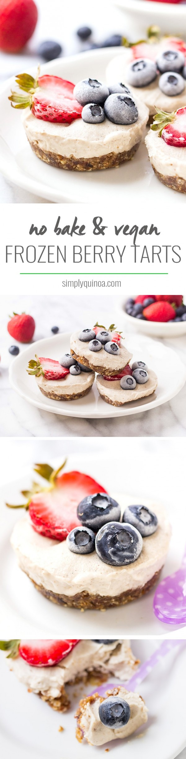 MINI VEGAN BERRY TARTS -- no-bake, healthy and they actually taste like an ice cream cake!
