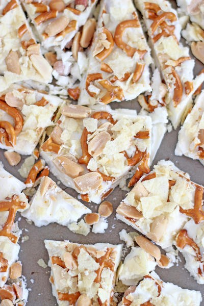 Caramel Pretzel Salted Peanut Potato Chip Bark Pic