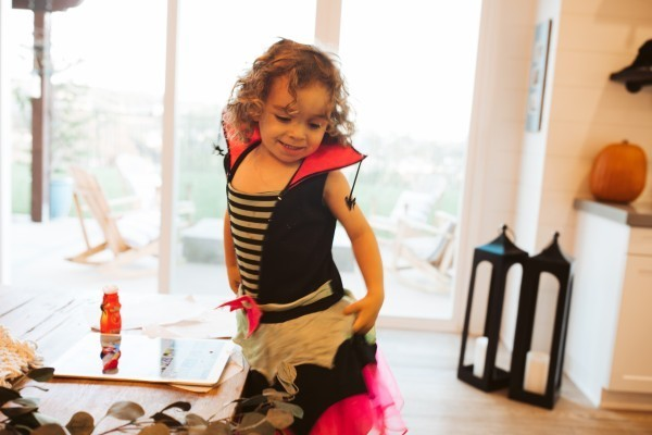 toddler in halloween costume