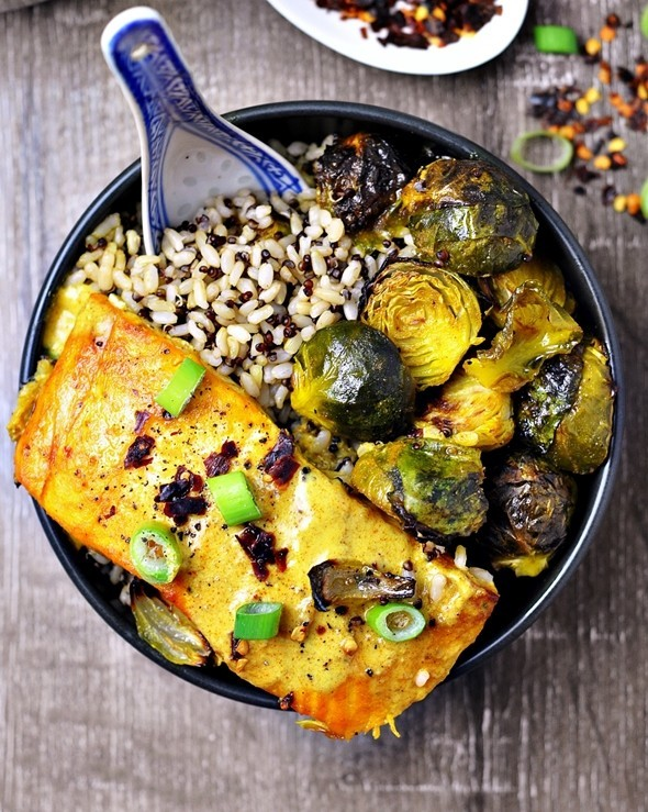 Grilled Turmeric Salmon and Brussel Sprouts with Curry Sauce by Fuss Free Cooking 2