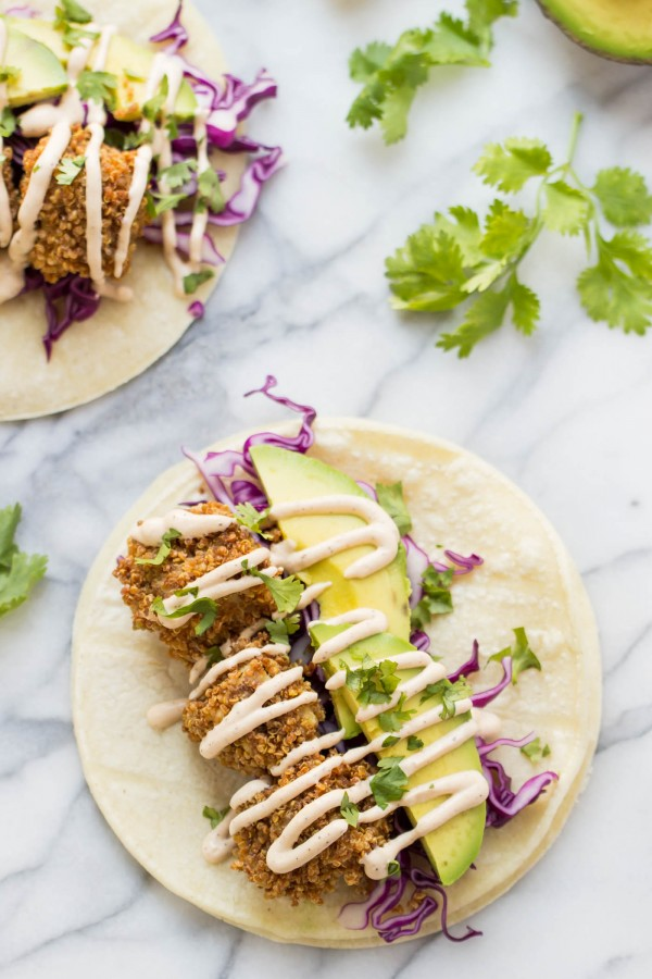 These simple CRISPY TOFU TACOS are perfect for a weeknight dinner. They're flavorful, healthy and naturally GF + vegan!