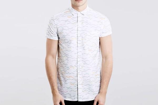 Topman White Zag Stripe Short Sleeve Shirt