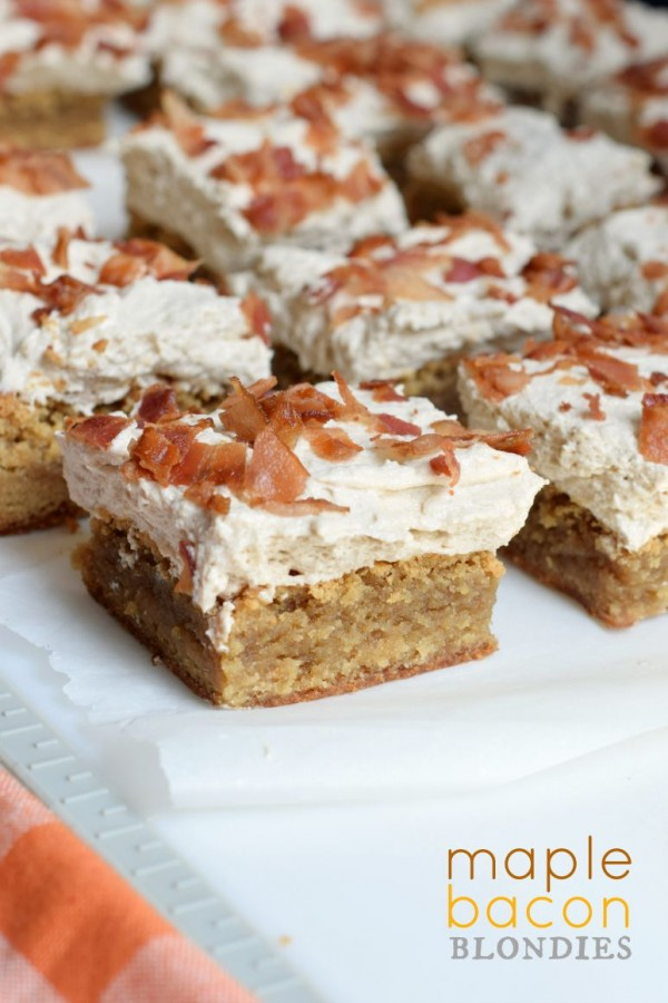 Maple Bacon Blondies! From the chewy blondie base, to the sweet maple ...