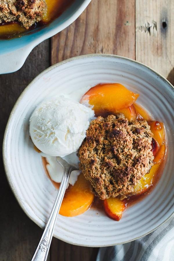 Gluten Free Peach Cobbler with Brown Butter Chestnut Biscuits   Snixy Kitchen