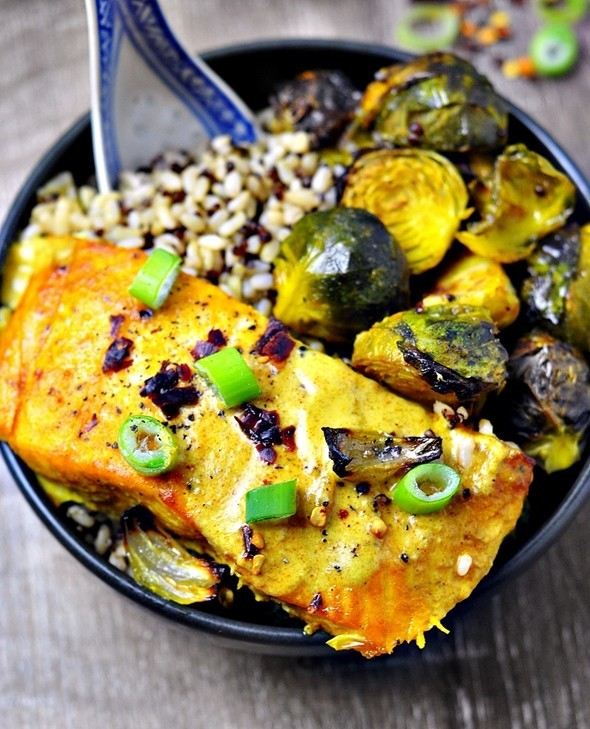 Grilled Turmeric Salmon & Brussels Sprouts Rice Bowl
