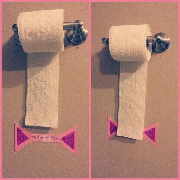 """The """"You Shall Not Pass"""" sign provides a visual limit to how much toilet paper your child can take."""
