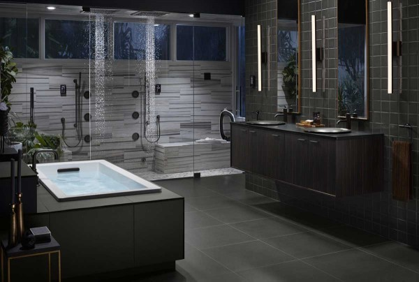 A modern bathroom featuring the latest from KOHLER.