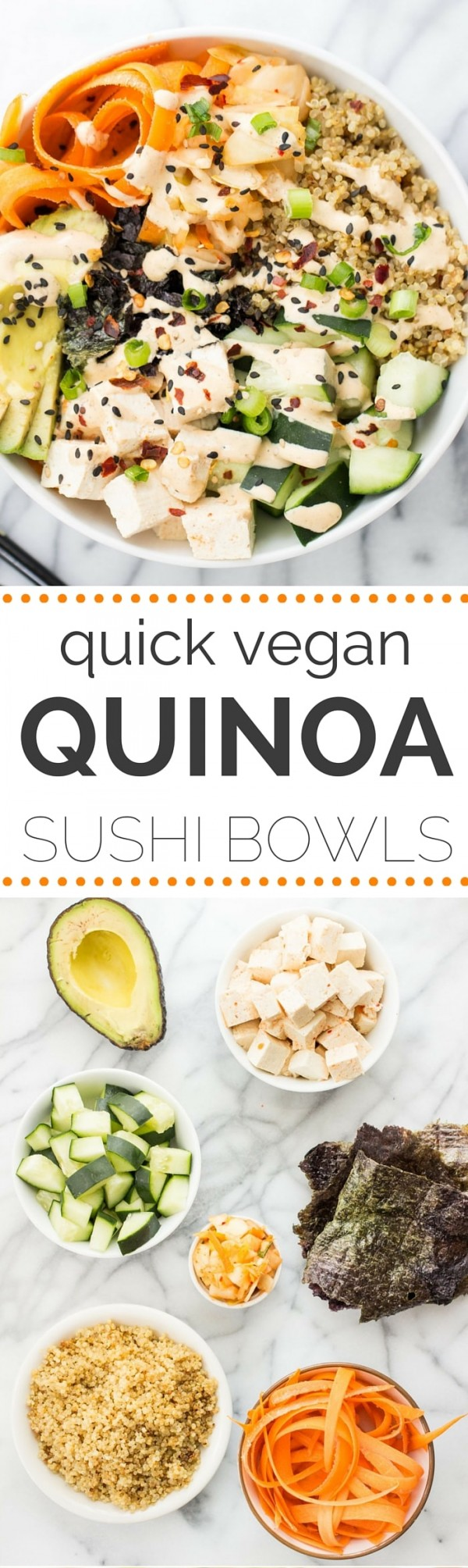 These SIMPLE Quinoa Sushi Bowls are seriously the BEST! So much easier than making sushi at home and they've got all the same flavors!