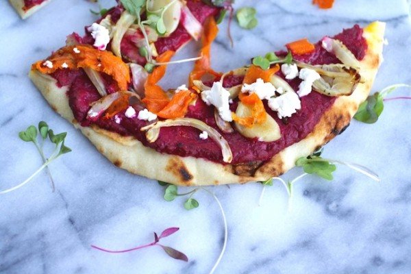 You'll want more than one slice of Flatbread Pizza with Beet Hummus and Roasted Veggies