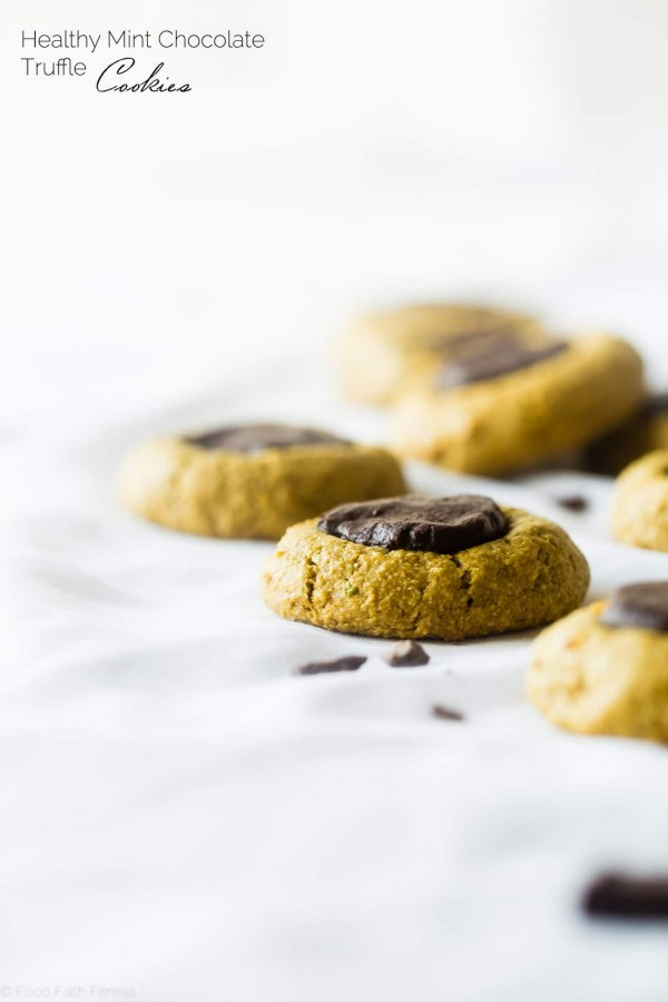 Chocolate Mint Truffle Cookies - These gluten free chocolate mint avocado cookies have a rich truffle center, are so soft and chewy and are only 100 calories! They're a healthy cookie for the holidays that are easy to make!   Foodfaithfitness.com   @FoodFaithFit