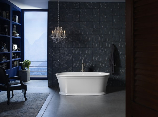 Memoirs freestanding bath     Margaux bath filler    Bring architectural style to your bathroom with a bath rich in hand-finished detail and geometric character.