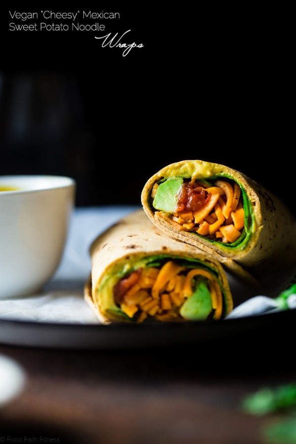 "Vegan ""Cheesy"" Mexican Sweet Potato Noodle Wrap - This easy wrap has sweet potato noodles, a vegan ""cheese sauce,"" spinach and salsa! It's a protein packed, healthy, portable and vegan friendly lunch! Perfect for back to school! Gluten free option included! 