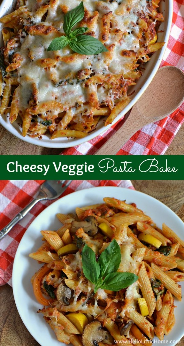 This delicious Cheesy Veggie Pasta Bake is the perfect meal on chilly day! | Hello Little Home #FallForFlavor