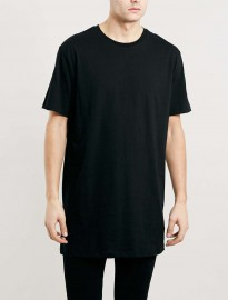 Topman Black Slim Longline Fit T-shirt