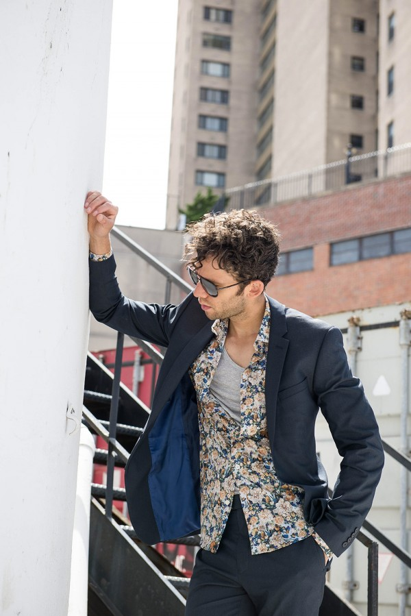 Talun Zeitoun wearing a William Rast Spring 2015 navy suit with a floral shirt in Harlem, NYC