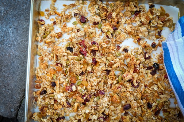 Crispy chewy baked granola on eatlivetravelwrite.com