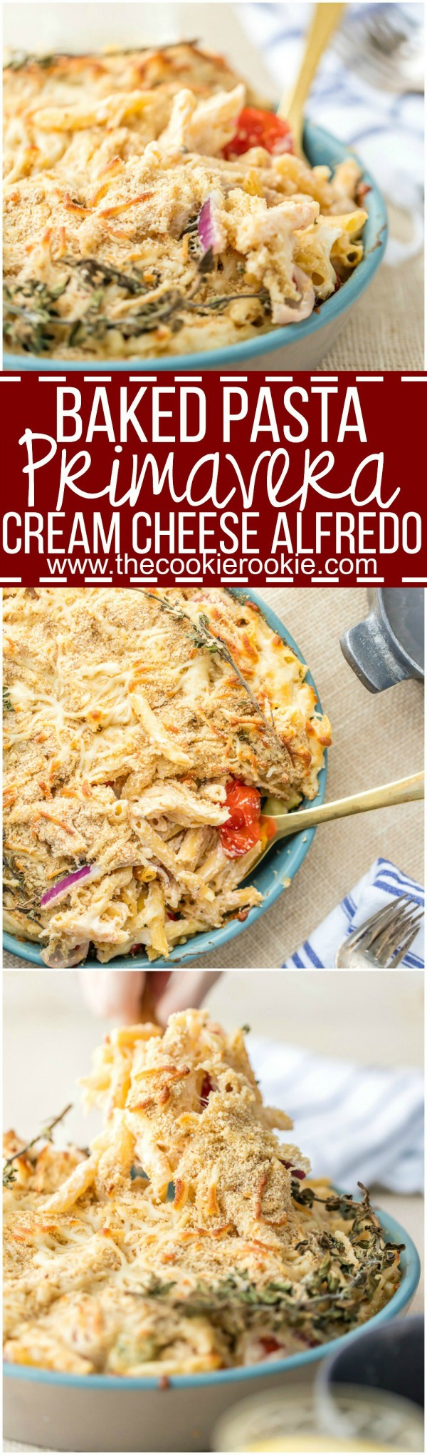 BAKED PASTA PRIMAVERA WITH CREAM CHEESE ALFREDO! This oven baked vegetable pasta with cheesy cream sauce is our favorite easy pasta recipe! The perfect family meal.