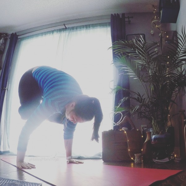 playing in crow pose