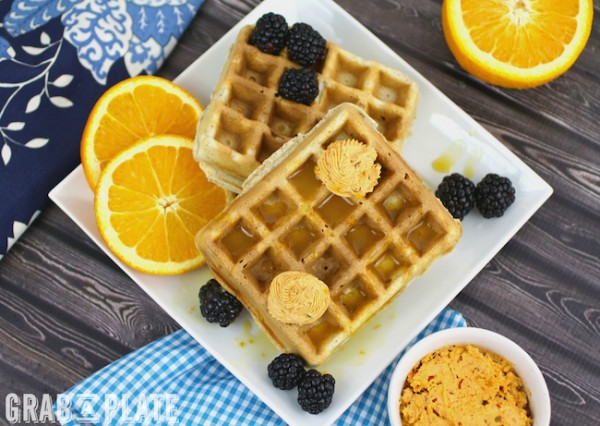 You'll love Blue Cornmeal Waffles with Chipotle Butter and Orange Syrup