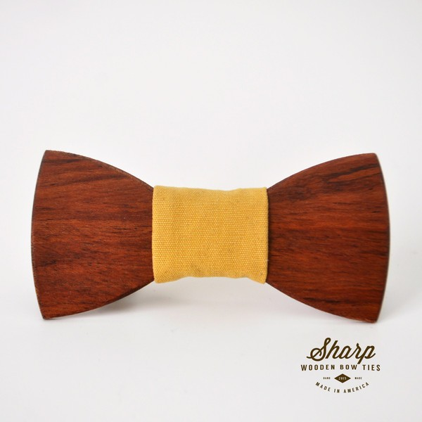 Redheart Wood Bow Tie w/ Canary Yellow Fabric