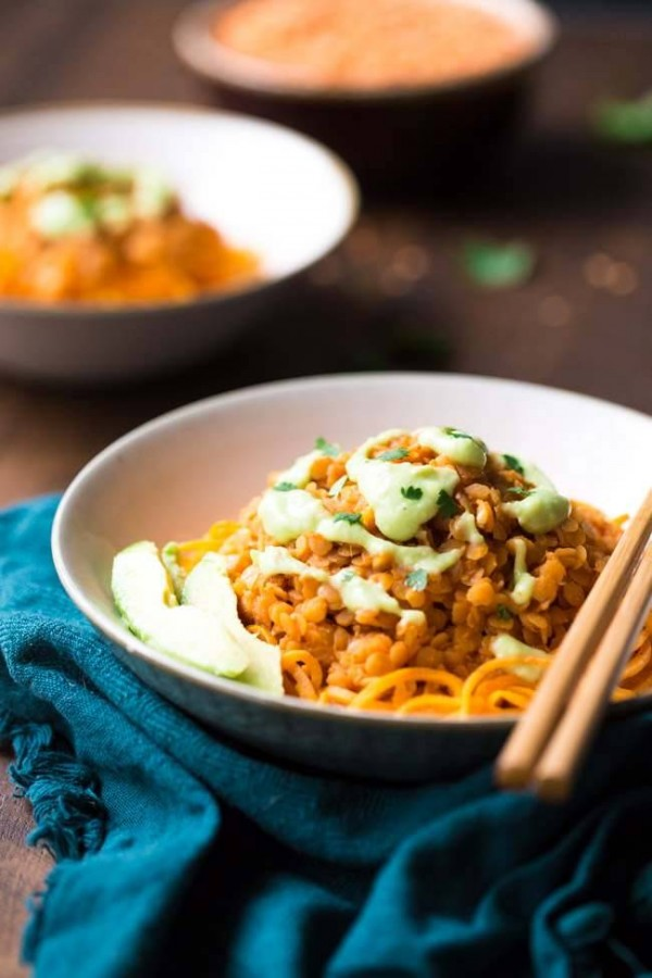 Red Lentil Curry and Spiralized Sweet Potato Noodle Bowls - Gluten free, Vegan and ready in 20 minutes! | Foodfaithfitness.com | @FoodFaithFit