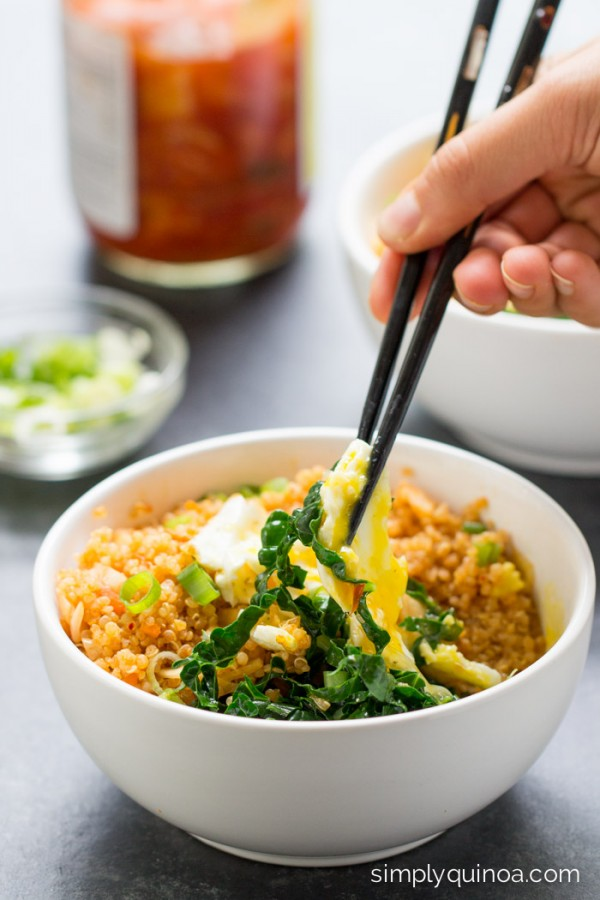 I was never a fan of kimchi until I tried these delicious Spicy Kimchi Quinoa Bowls. Now they're a go-to meal!