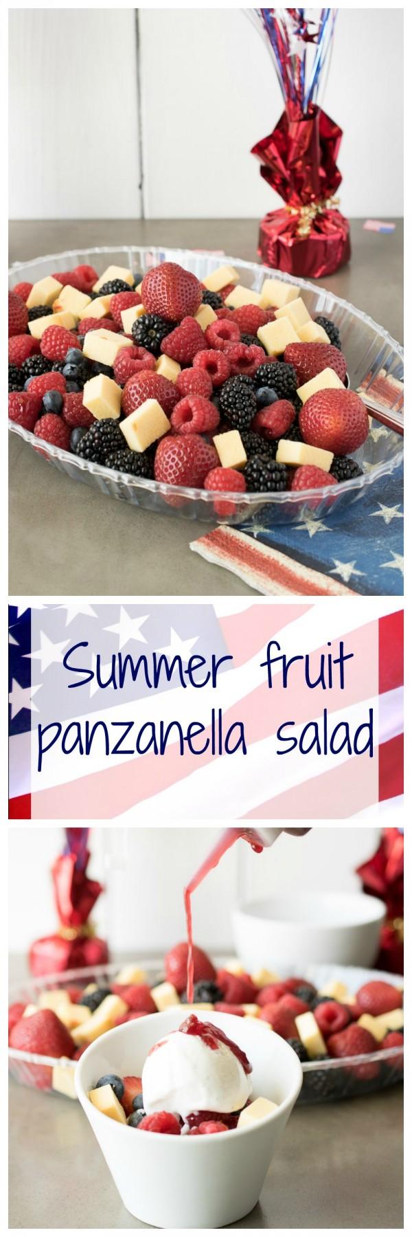 Summer fruit panzanella salad