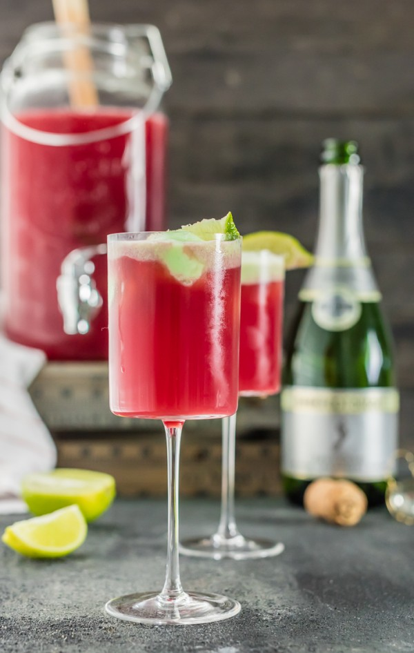 Cranberry Limeade Holiday Champagne Punch, perfect for Christmas and ...