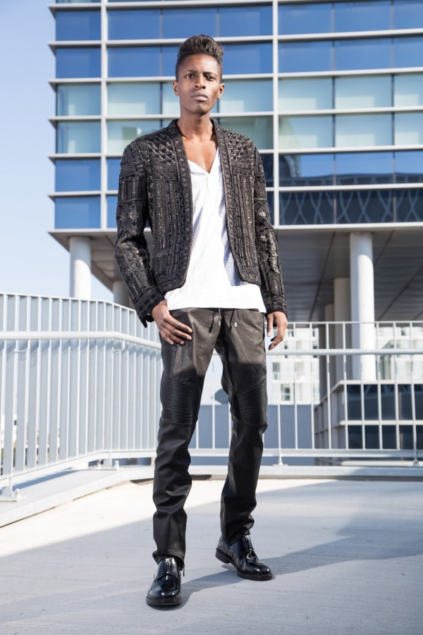 Introducing you Balmain x H&M men's collection + street style guide for Balmain x H&M men's collection written by jonthegold / photography by HOYmedia ( antwerp )  wearing black blazer + white long sleeve tshirt  and black leather biker pants and ZIGN shoes
