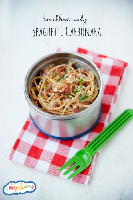 Easy spaghetti carbonara recipe every kid will love! This dinner recipe is great for a thermos leftover lunch!